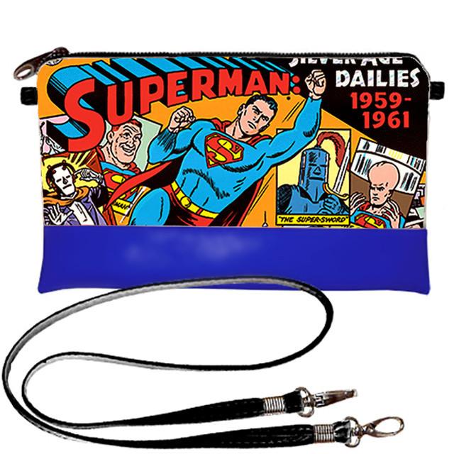 Синий клатч женский с принтом Супермен