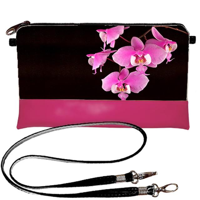 Розовая сумка клатч с принтом Орхидея