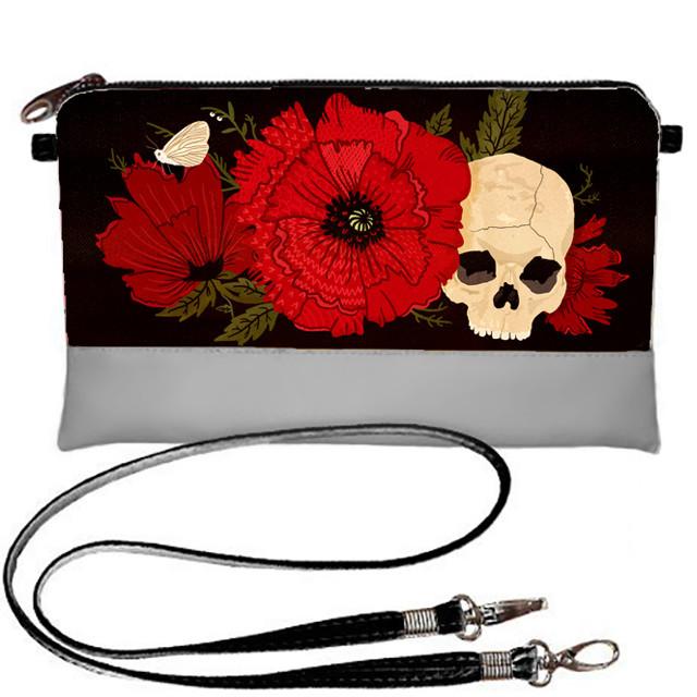 Серая сумка клатч с принтом Череп с цветами
