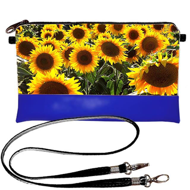 Синяя сумка клатч с принтом Поле подсолнухов