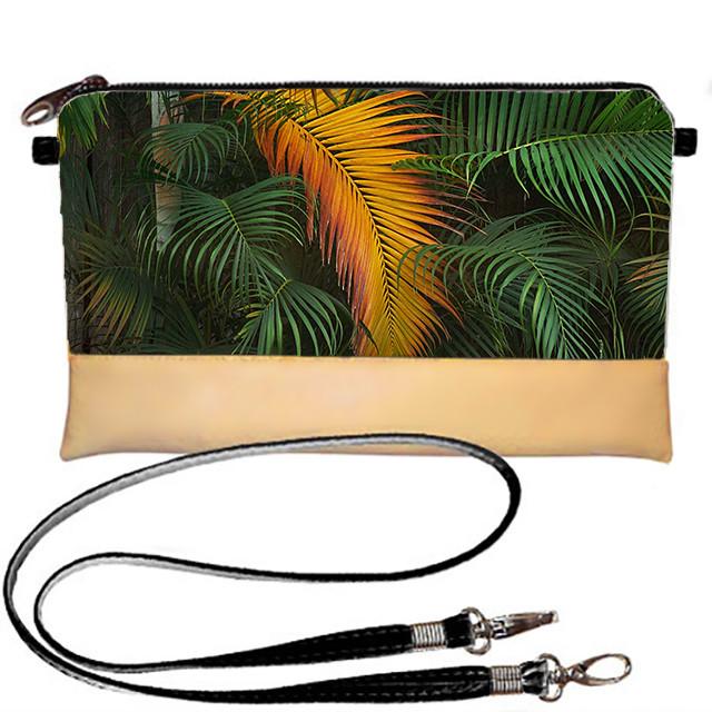 Бежевый клатч с принтом Пальмовые листья