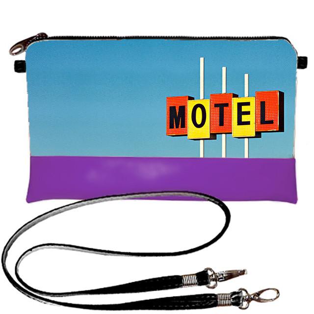 Фиолетовый клатч с принтом Motel