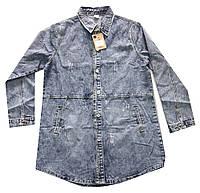 Куртка женская на пуговицах джинсовая варенка потертости батал (деми)