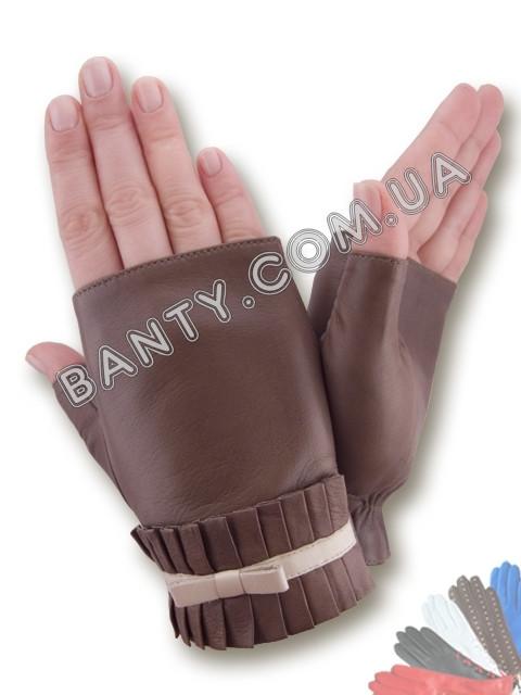 Женские кожаные перчатки без подкладки Модель 383
