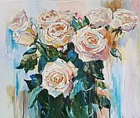 """Картина на холсте маслом """"Букет белых роз"""""""