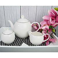 Набор чайник сахарница молочник керамика серебро