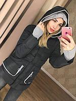 Женская куртка с вязаными вставками (разные цвета)