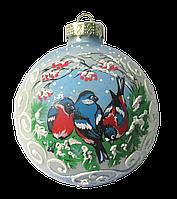 """Украшение новогоднее шар """"Снегири под рябиной"""" 55 мм"""