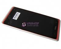 Дисплей HTC Desire 600, 606w с сенсором (тачскрином) и рамкой красный