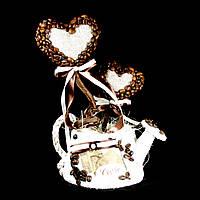 Подарок кофейная тематика топиарий Два сердца в лейке 28см 9941