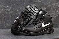 Кроссовки мужские Nike Air Max 87. Замша Мех 100%. Чёрные с белым