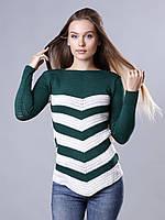 Свитер женский зеленый в белую полоску