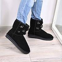 Угги женские Flower черные 3665, зимняя обувь