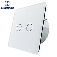 Сенсорный выключатель Livolo на 2 канала | цвет белый