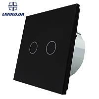 Сенсорный выключатель Livolo на 2 канала | цвет черный