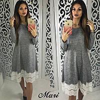 Изысканное серое платье с белым кружевом