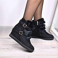 Ботинки женские зимние Furs черные ЗИМА 3666 , ботинки женские
