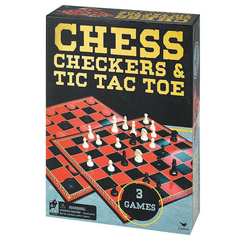 Набір з трьох настільних ігор Шахи, шашки і хрестики-нулики Spin Master