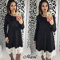 Оригинальное теплое платье с кружевом