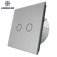 Сенсорный выключатель Livolo на 2 канала | цвет графит, фото 1