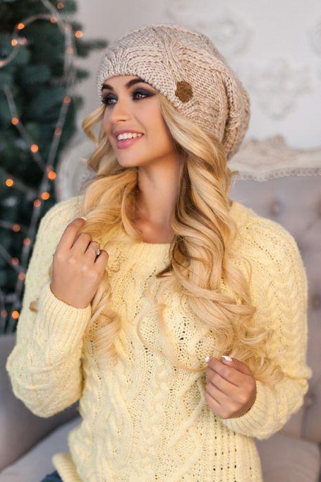 Зимняя женская шапка-колпак «Канна» Светлый кофе