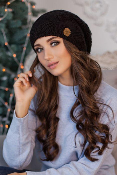 Зимняя женская шапка-колпак «Канна» Черный