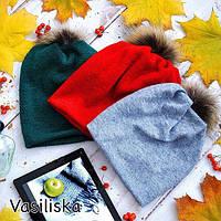 Шапка модная с бубонами из натурального меха ангора разные цвета SHV39