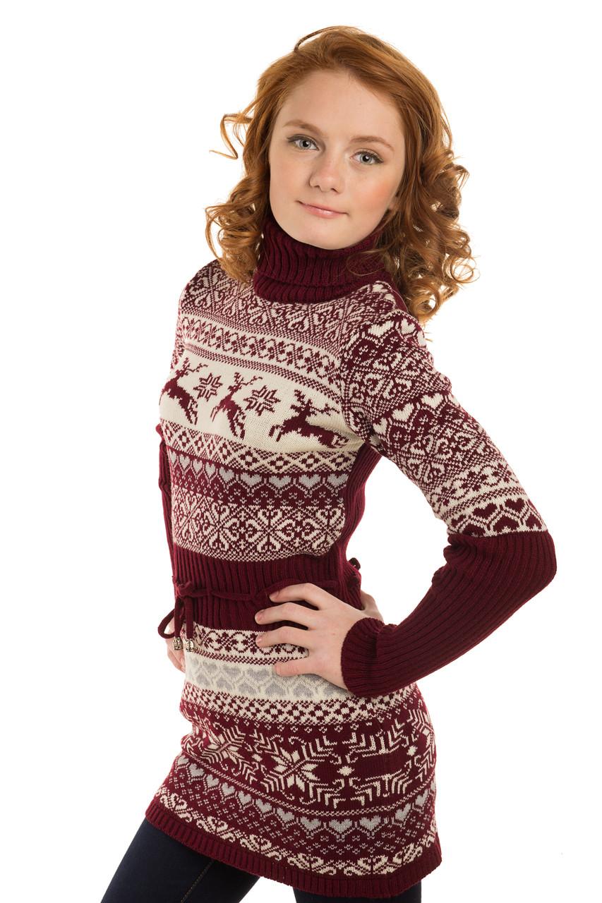 Теплое вязаное платье на девочку