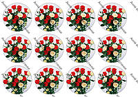Вафельная картинка 8 марта Розы