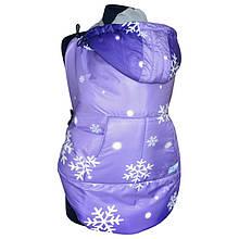 Слингонакидка зимняя фиолетовая со снежинками