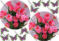Вафельная картинка 8 марта тюльпаны и бабочки