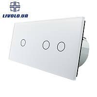 Сенсорный выключатель Livolo 1+2   цвет белый