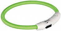 TRIXIE (Трикси) SAFER LIFE - светодиодный светящийся USB ошейник для собак L-XL, 65см/7мм, зеленый