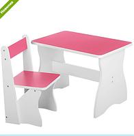 Столик со стульчиком деревянный VIVAST 504-1 розовый ***