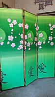 Ширма из бамбука 170х150см  Сакура на зеленом фоне.
