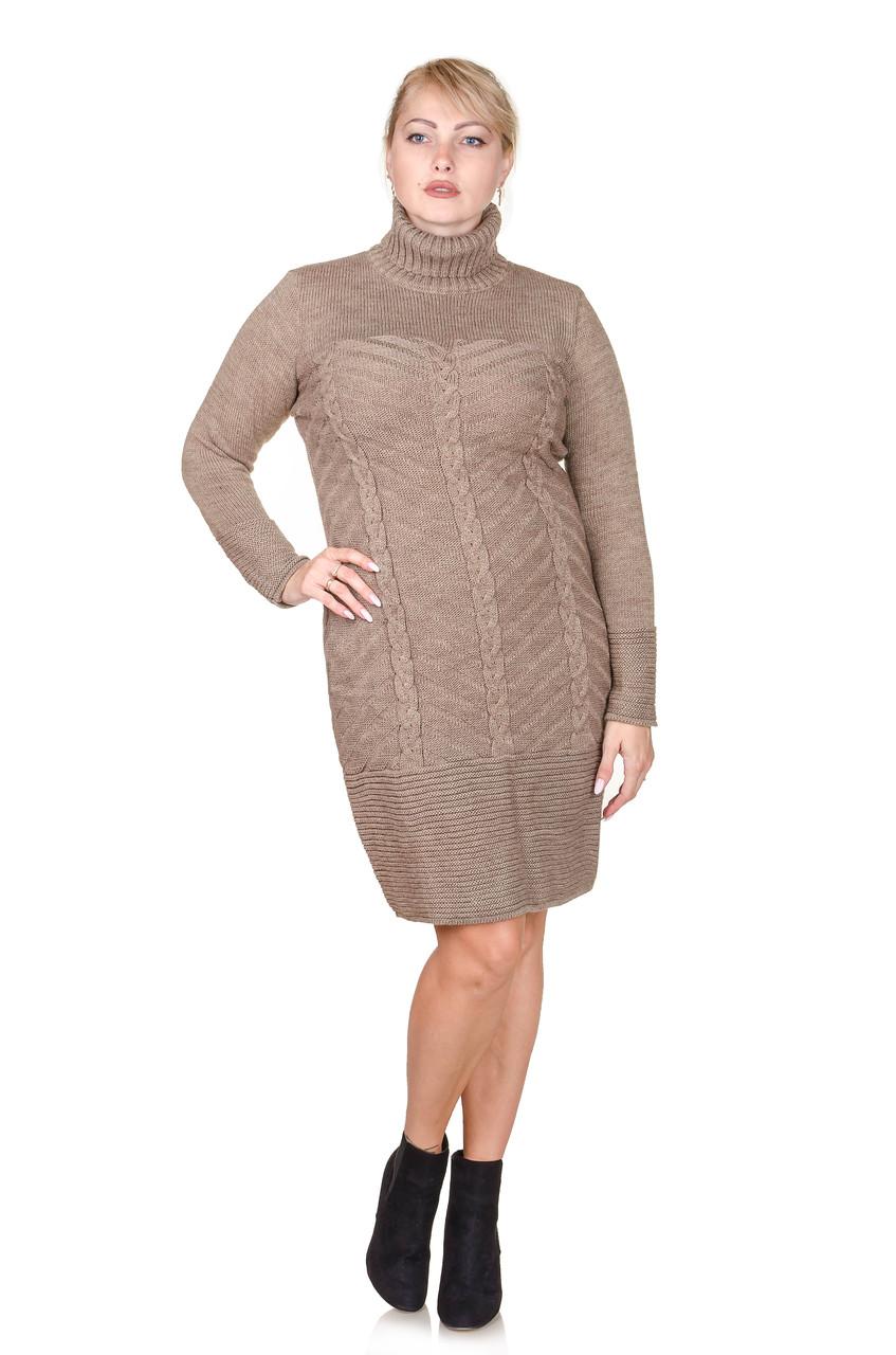 Вязаное платье размер плюс Nimfa беж (52-58)