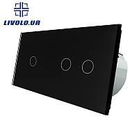 Сенсорный выключатель Livolo 1+2 | цвет черный