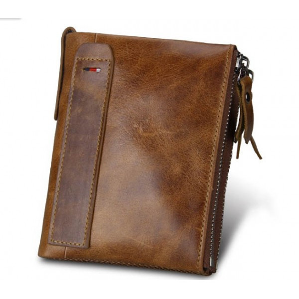 Кожаный мужской кошелек RFID коричневый