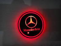 Подсветка подстаканника с логотипом Mersedes RGB