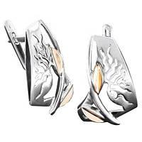 Серебряные серьги с золотом Ветка вербы