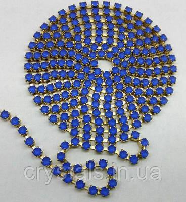 Стразовая цепь Preciosa (Чехия) ss12 Sapphire matt/латунь