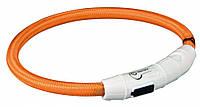 TRIXIE SAFER LIFE - светодиодный светящийся USB ошейник для собак M-L, 45см/7мм, оранжевый