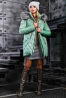 Оливковая зимняя женская куртка 2357 ТМ Seventeen 46-52 размеры