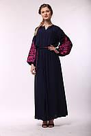 Синее платье из штапеля с вышивкой Дерево жизни ( розовая вышивка), фото 1