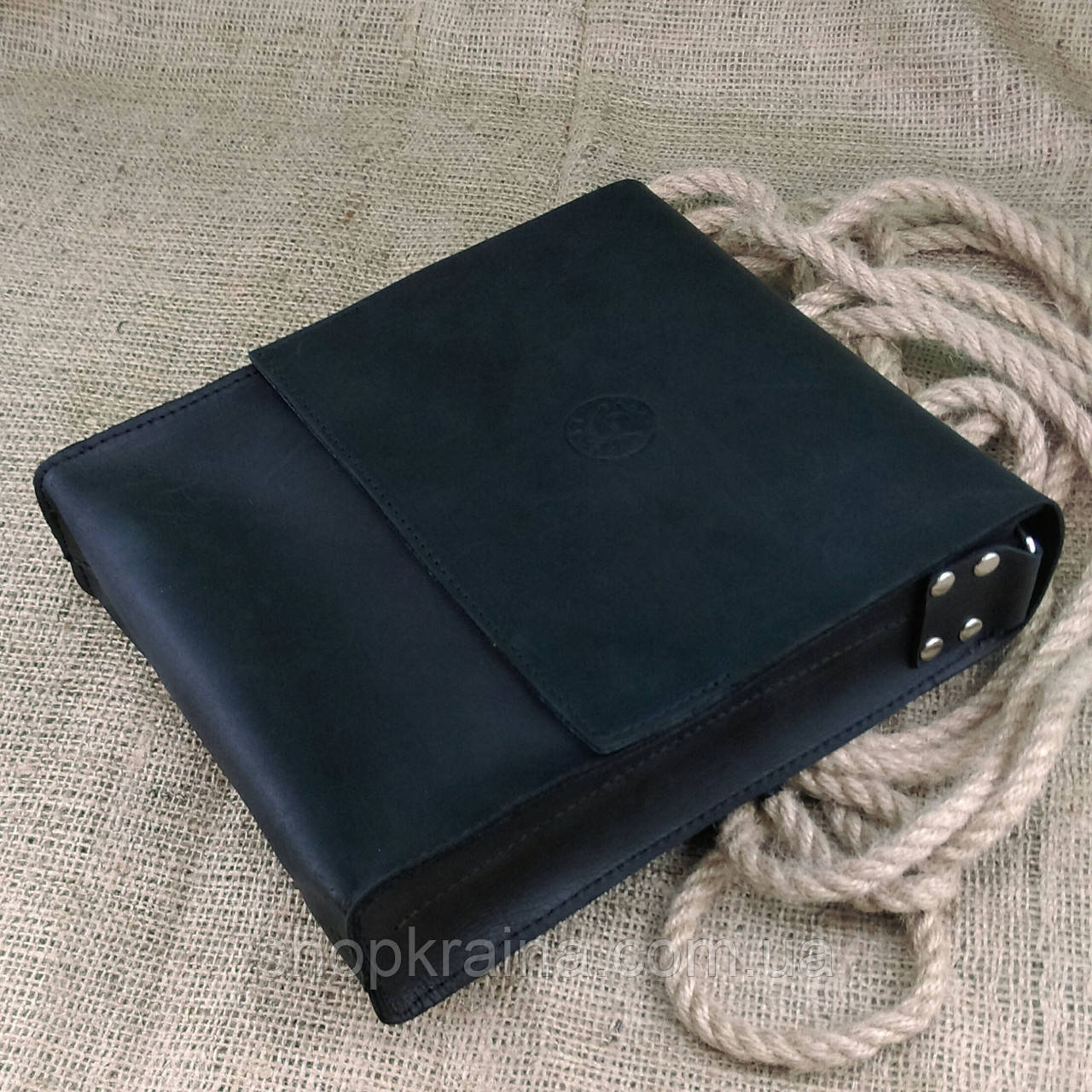 Кожаная мужская сумка VS220 Crazy horse black 24х22х6 см