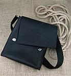 Кожаная мужская сумка VS220 Crazy horse black 24х22х6 см, фото 4