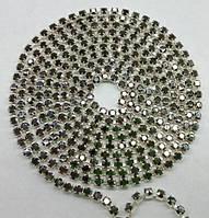 Стразовая цепь Preciosa (Чехия) ss6.5 Jet Hematite/серебро