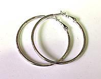 Серьги кольца, Xuping родий, диаметр 4,7 см