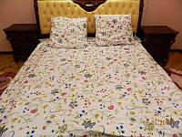 Комплект белого постельного белья с мелкими цветами 100% хлопок.