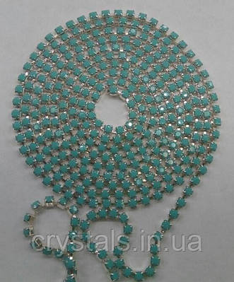 Стразовая цепь Preciosa (Чехия) ss8.5 Turquoise/серебро
